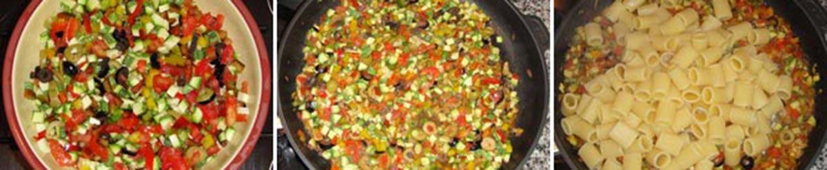 fasi della preparazione della pasta alle verdure