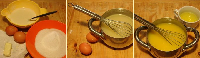 Uova, tegame con crema, frusta