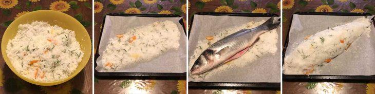 Preparazione pesce al sale