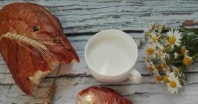 Tazza con besciamella circondata da pane e camomilla
